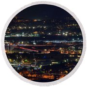 Lights Across Birmingham Round Beach Towel