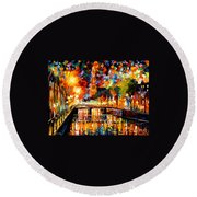 Lights And Shadows Of Amsterdam Round Beach Towel