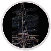 Lights By Night Round Beach Towel