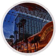 Lights In Down Town Las Vegas Round Beach Towel