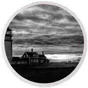 Lights In The Storm Round Beach Towel