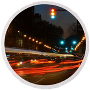 Lights Of The City Round Beach Towel