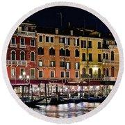 Lights Of Venice Round Beach Towel