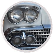 Lights On A '58 Chevy Round Beach Towel