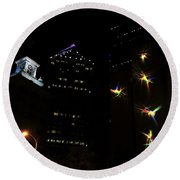 Lights On Tampa Round Beach Towel