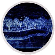Lights On The Farm's Pond At Night Round Beach Towel