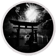 Lights Over Japan Round Beach Towel