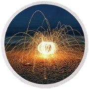 Lighty Fireworks Round Beach Towel