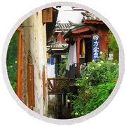 Lijiang Back Canal Round Beach Towel