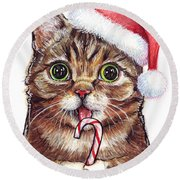Cat Santa Christmas Animal Round Beach Towel by Olga Shvartsur