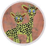 Lil Giraffes Round Beach Towel