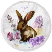 Lilac And Bunny Round Beach Towel