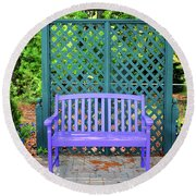 Lilac And Teal Garden Round Beach Towel
