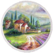Lilac Fields In The Italian Countryside   Round Beach Towel