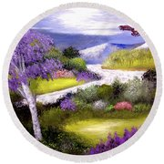Lilac Valley Round Beach Towel