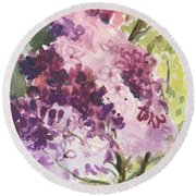 Lilacs - Note Card Round Beach Towel