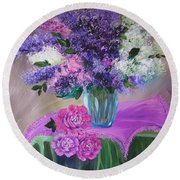 Lilacs 2 Round Beach Towel