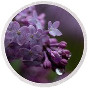 Lilacs After Rain Round Beach Towel