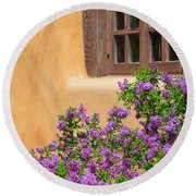 Lilacs And Adobe Round Beach Towel