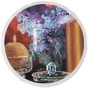 Lilacs And Candles Round Beach Towel