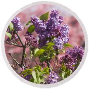 Lilacs And Dogwoods Round Beach Towel