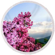 Lilacs And Green Pastures Round Beach Towel