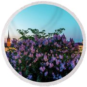 Lilacs And Sunset To Blue Hour Transition Over Gamla Stan In Stockholm Round Beach Towel