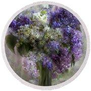 Lilacs Of Love Round Beach Towel by Carol Cavalaris