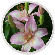 Lilies And Raindrops Round Beach Towel