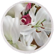 Lilies And Roses Round Beach Towel