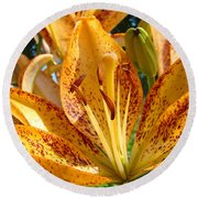 Lilies Art Prints Orange Lily Flowers 2 Gilcee Prints Baslee Troutman Round Beach Towel