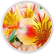 Lilies Art Prints Pink Yellow Lily Flowers 1 Giclee Prints Baslee Troutman Round Beach Towel