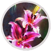 Lilies At Night Round Beach Towel