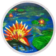 Lilies By The Pond Round Beach Towel