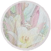 Lilies. Flowers And Buds. Round Beach Towel