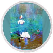 Lilies In Abstract Round Beach Towel