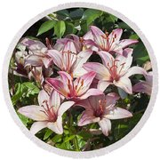 Lilies In Pink Round Beach Towel