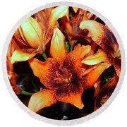 Lilies In The Shadow Round Beach Towel