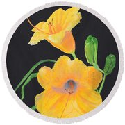 Lilies Of September Round Beach Towel