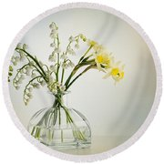 Lilies Of The Valley In A Glass Vase Round Beach Towel