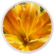 Lilies Orange Yellow Lily Flower 1 Giclee Art Prints Baslee Troutman Round Beach Towel
