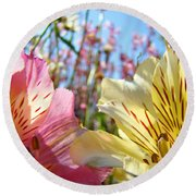 Lilies Pink Yellow Lily Flowers Canvas Art Prints Baslee Troutman Round Beach Towel