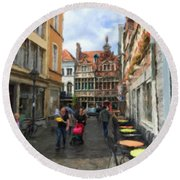 Lille Streets Series #2 Round Beach Towel
