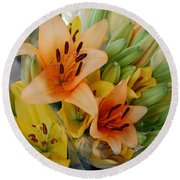 Lillies - Peach And Yellow Colors Round Beach Towel