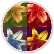 Lillies Of Four Round Beach Towel