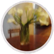 Lillies On The Table Round Beach Towel