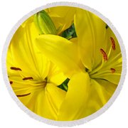Lilly Flowers Art Prints Yellow Lilies Floral Baslee Troutman Round Beach Towel
