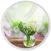 Lilly Of Valley Posy In Glass Round Beach Towel