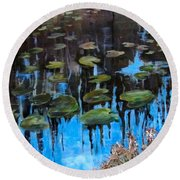Lilly Pads And Reflections Round Beach Towel