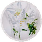 Lily 2 Round Beach Towel